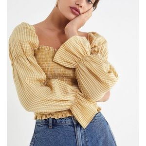 Urban Outfitters Gingham Cinched-Sleeve top